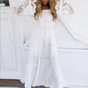 Dresses & Skirts - White lace off shoulder dress